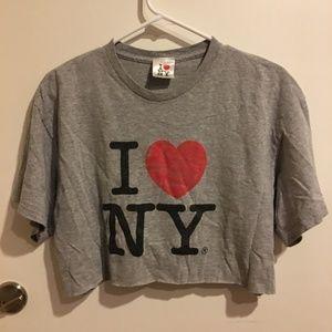 I Love New York Handmade Upcycled Crop Top L